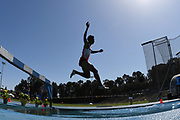 Apr 14, 2018; Los Angeles, CA, USA; Steeplechase winner Atjong Tio Purwanto (INA) races over the water jump  during the Rafer Johnson/Jackie joyner-Kersee Invitational at Drake Stadium.
