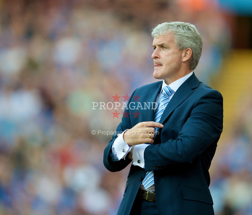 BIRMINGHAM, ENGLAND - Sunday, August 17, 2008: Manchester City's manager Mark Hughes during the Premiership match at Villa Park. (Photo by David Rawcliffe/Propaganda)