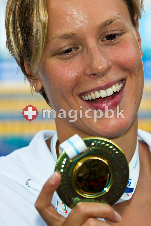 Federica PELLEGRINI of Italy poses with her gold medal after winning the women's 200m Freestyle Final at the European Swimming Championship at the Hajos Alfred Swimming complex in Budapest, Hungary, Saturday, Aug. 14, 2010. (Photo by Patrick B. Kraemer / MAGICPBK)