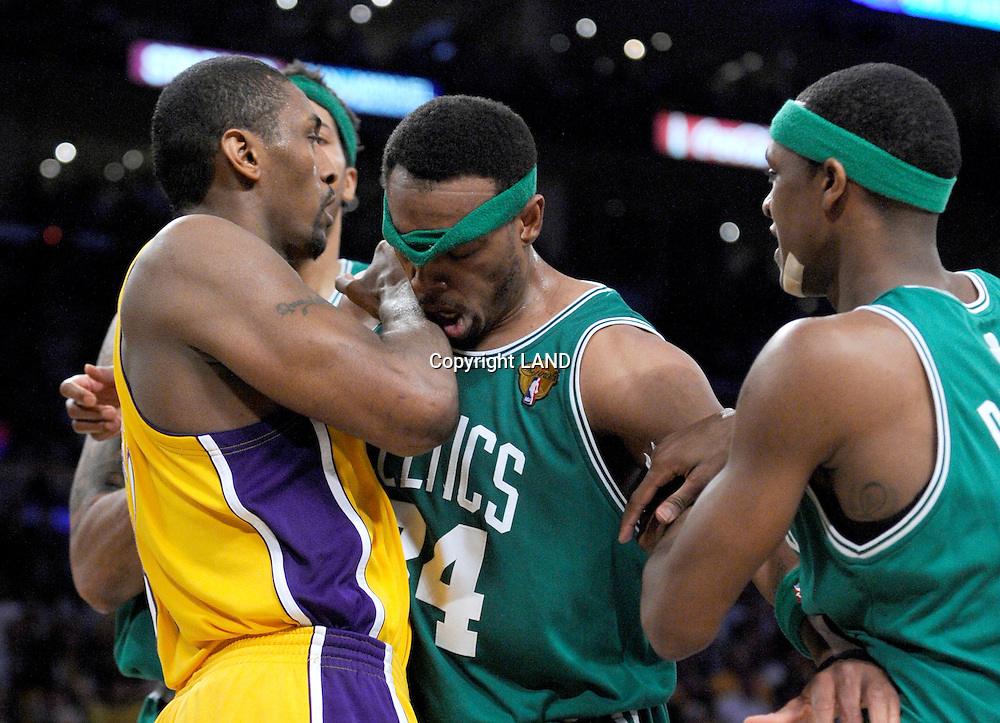 Ron Artest tangles with Paul Pierce and Rajon Rondo in the first half. Pierce was called for a double technical foul. The Lakers defeated the Boston Celtics in game 7 of the NBA Finals  83-79 in Los Angeles, CA 06/16/2010 (John McCoy/Staff Photographer).