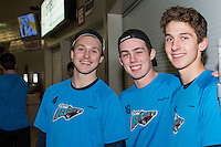 KELOWNA, CANADA - DECEMBER 2: Gordie Ballhorn #4, Kole Lind #16 and Cal Foote #25 of Kelowna Rockets pose for a photo during off ice warm up against the Kootenay Ice on December 2, 2015 at Prospera Place in Kelowna, British Columbia, Canada.  (Photo by Marissa Baecker/Shoot the Breeze)  *** Local Caption *** Gordie Ballhorn; Cal Foote; Kole Lind;