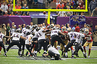 3 February 2013: Kicker (9) Justin Tucker of the Baltimore Ravens kicks a field goal against the San Francisco 49ers during the second half of the Ravens 34-31 victory over the 49ers in Superbowl XLVII at the Mercedes-Benz Superdome in New Orleans, LA.