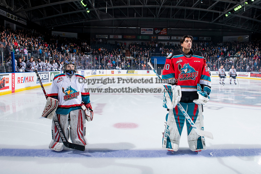 KELOWNA, BC - NOVEMBER 16: Roman Basran #30 of the Kelowna Rockets lines up for the national anthem along side the pepsi player of the game against the Kamloops Blazers  at Prospera Place on November 16, 2019 in Kelowna, Canada. (Photo by Marissa Baecker/Shoot the Breeze)
