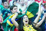 Brazil's fan supports her team while volleyball match between Brazil and Russia during the 2014 FIVB Volleyball World Championships at Spodek Hall in Katowice on September 14, 2014.<br /> <br /> Poland, Katowice, September 14, 2014<br /> <br /> For editorial use only. Any commercial or promotional use requires permission.<br /> <br /> Mandatory credit:<br /> Photo by &copy; Adam Nurkiewicz / Mediasport