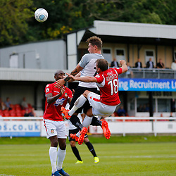 AUGUST 12:  Dover Athletic against Wrexham in Conference Premier at Crabble Stadium in Dover, England. Dover's forward Ryan Bird rises above the Wrexham defence to head the ball just wide. (Photo by Matt Bristow/mattbristow.net)