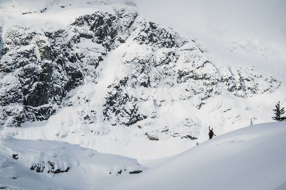 Tom below the flanks of Hut Peak, Howson Range, British Columbia.