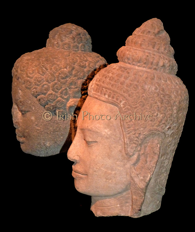 Head of the Buddha. 800-30, Shailendra dynasty, Central Java, Stone.  The head originally formed part of a large-scale image of Buddha Shakyamuni. The Shailendra rulers were strong supporters of Mahayana Buddhism and erected many Buddhist monuments in cen