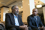 BIRMINGHAM, AL – APRIL 3, 2015: Anthony Ray Hinton (left) sits next to his attorney, Bryan Stevenson (right). Hinton was released from prison after 30 years on death row. Hinton was convicted of two murders in 1985 at age 29, but has always maintained his innocence. CREDIT: Bob Miller for The New York Times