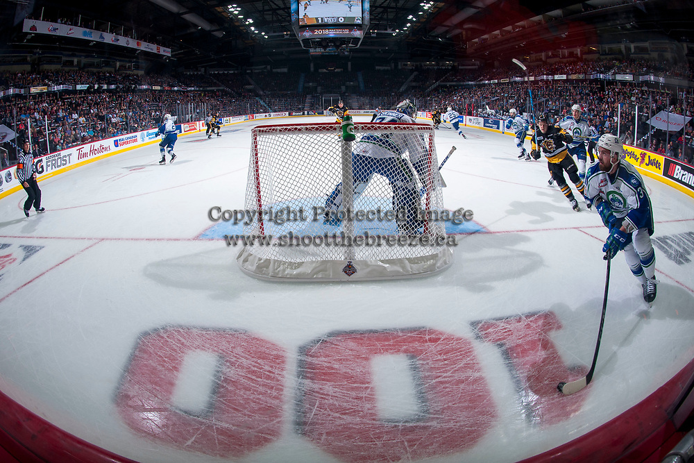 REGINA, SK - MAY 21: Josh Anderson #3 skates behind the net of Stuart Skinner #74 of Swift Current Broncos against the Hamilton Bulldogs at the Brandt Centre on May 21, 2018 in Regina, Canada. (Photo by Marissa Baecker/CHL Images)