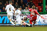 Swindon - Saturday March 20th, 2010: Michael Rose of Norwich and blocks a shot by Danny Ward of Swindon  during the Coca Cola League One match at The County Ground, Swindon. (Pic by Paul Chesterton/Focus Images)
