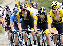 July 25, 2018 - Saint Lary Soulan, France - SAINT-LARY-SOULAN COL DU PORTET, FRANCE - JULY 25 : FROOME Chris (GBR) of Team SKY, LANDA MEANA Mikel (ESP) of Movistar Team, KRUIJSWIJK Steven (NED) of Team Lotto NL - Jumbo ROGLIC Primoz (SLO) of Team Lotto NL - Jumbo, THOMAS Geraint (GBR) of Team SKY  during stage 17 of the 105th edition of the 2018 Tour de France cycling race, a stage of 65 kms between Bagneres-de-Luchon and Saint-Lary-Soulan Col Du Portet on July 25, 2018 in Saint-Lary-Soulan Col Du Portet, France, 25/07/2018 (Credit Image: © Panoramic via ZUMA Press)