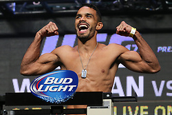 Las Vegas, Nevada, USA - July 4, 2014: Rob Font steps on the scale for his preliminary card bout at UFC 175 at the Mandalay Bay Events Center in Las Vegas, Nevada.  Ed Mulholland for ESPN