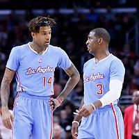 02 November 2014: Los Angeles Clippers guard Chris Paul (3) talks to Los Angeles Clippers guard Chris Douglas-Roberts (14) during the Sacramento Kings 98-92 victory over the Los Angeles Clippers, at the Staples Center, Los Angeles, California, USA.