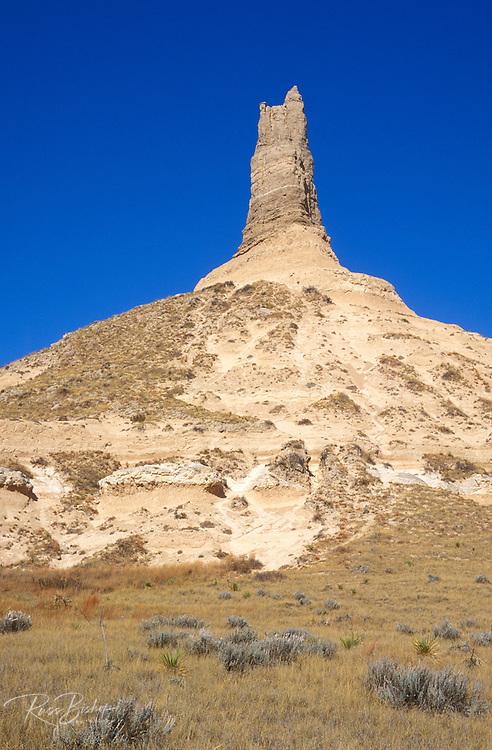 Chimney Rock under blue sky along the Oregon Trail, Chimney Rock National Historic Site, Nebraska USA