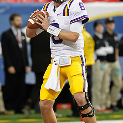 Dec 3, 2011; Atlanta, GA, USA; LSU Tigers quarterback Zach Mettenberger (8) prior to kickoff of the 2011 SEC championship game against the Georgia Bulldogs at the Georgia Dome.  Mandatory Credit: Derick E. Hingle-US PRESSWIRE