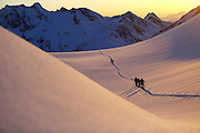 Ski Touring at Sunset in the Chugach Mountains