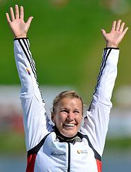 FRANZISKA WEBER (GERMANY) CELEBRATES HER GOLD MEDAL IN WOMEN'S K1 1000 METERS FINAL A RACE DURING 2010 ICF KAYAK SPRINT WORLD CHAMPIONSHIPS ON MALTA LAKE IN POZNAN, POLAND...POLAND , POZNAN , AUGUST 21, 2010..( PHOTO BY ADAM NURKIEWICZ / MEDIASPORT ).