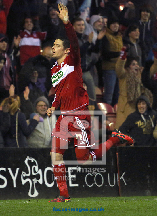 Picture by Paul Gaythorpe/Focus Images Ltd +447771 871632.26/01/2013.Lukas Jutkiewicz of Middlesbrough celebrates scoring the first goal against Aldershot Town during the FA Cup match at the Riverside Stadium, Middlesbrough.