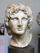 Portrait sculpture of Alexander the Great. Made of marble, said to be from Alexandria. Greek, 2nd-1st century BC.