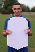 AFC Wimbledon midfielder Anthony Hartigan (8) holding Fifa sign during the AFC Wimbledon 2018/19 official photocall at the Kings Sports Ground, New Malden, United Kingdom on 31 July 2018. Picture by Matthew Redman.