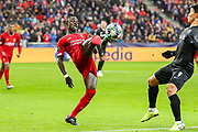 Liverpool forward Sadio Mané (10) attempts an overhead kick during the Champions League match between FC Red Bull Salzburg and Liverpool at the Red Bull Arena, Salzburg, Austria on 10 December 2019.