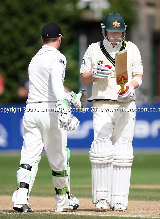 NZ keeper Brendon McCullum congratulates Michael Clarke on his innings after stumping him on 168.<br /> 1st cricket test match - New Zealand Black Caps v Australia, day two at the Basin Reserve, Wellington.Saturday, 20 March 2010. Photo: Dave Lintott/PHOTOSPORT