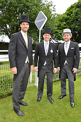 Left to right, cricketers STEVEN FINN, England Captain EOIN MORGAN and New Zealand Captain BRENDON McCULLUM at the Investec Derby at Epsom Racecourse, Epsom, Surrey on 4th June 2016.