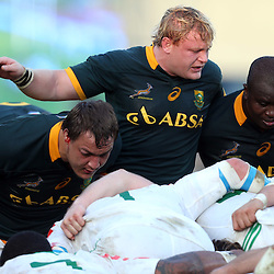 PADUA, ITALY - NOVEMBER 22: Coenie Oosthuizen with Adriaan Strauss and Trevor Nyakane of South Africa during the Castle Lager Outgoing Tour match between Italy and South African at Stadio Euganeo on November 22, 2014 in Padua, Italy. (Photo by Steve Haag/Gallo Images)