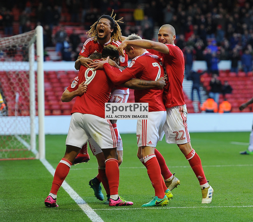 Britt Assombalonga of Notts Forest celebrates with teammates during Nottingham Forest vs Queens Park Rangers, Championship, 5.11.16 (c) Harriet Lander | SportPix.org.uk