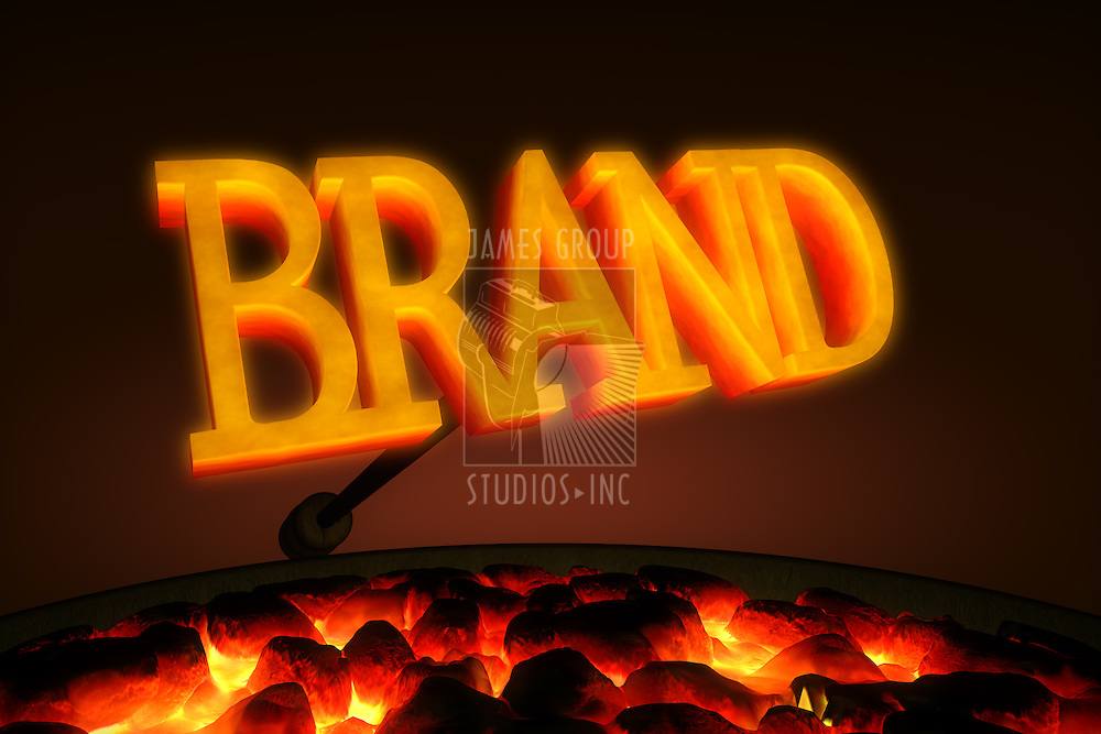 """Red hot branding iron with the word """"BRAND"""" in glowing letters over a brazier of red hot coals"""