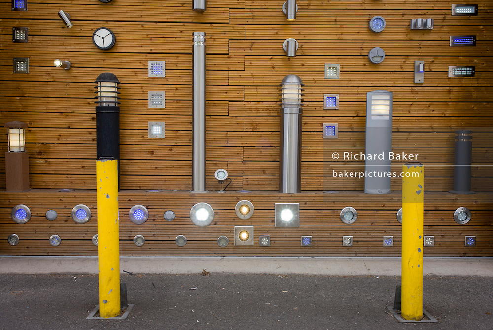 A display by a company selling wall-mounted and post lighting in south London.