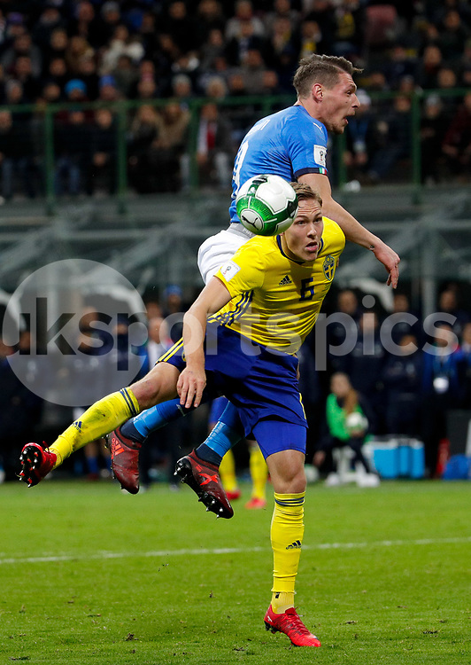 Andrea Belotti of Italy against Ludwig Augustinsson of Sweden during the 2018 World Cup Qualifying Play-Off match between Italy and Sweden at Stadio San Siro, Milan, Italy on 13 November 2017. Photo by Roberto Bregani.