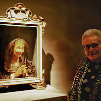 "VENICE, ITALY - MARCH 09:  Stylist Rosita Missoni poses for a picture next to a 17th Century wax portrait during  the press preview of ""Avere Una Bella Cera - Wax Portraits Exhibition"" at Palazzo Fortuny on March 9, 2012 in Venice, Italy. The exhibition open until June 25 is the world's first exhibition on wax portraits analizing a field that has been studied very little by art historians."