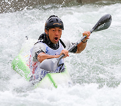 27.06.2015, Verbund Wasserarena, Wien, AUT, ICF, Kanu Wildwasser Weltmeisterschaft 2015, K1 men, im Bild Shinichiro Yoda (JPN) // during the final run in the men's K1 class of the ICF Wildwater Canoeing Sprint World Championships at the Verbund Wasserarena in Wien, Austria on 2015/06/27. EXPA Pictures © 2014, PhotoCredit: EXPA/ Sebastian Pucher