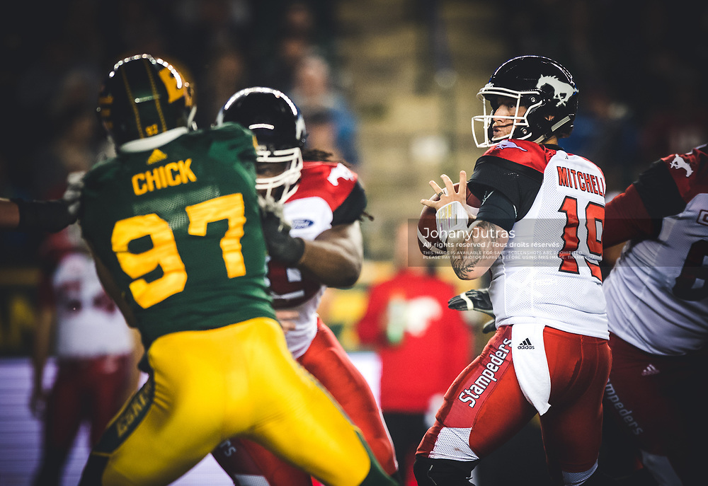 Bo Levi Mitchell (19) of the Calgary Stampeders during the game against the Edmonton Eskimos at Commonwealth Stadium in Edmonton AB, Saturday, September 9, 2017. (Photo: Johany Jutras)