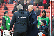 Grant McCann Manager / Head Coach of Hull City and Gerhard Struber Manager / Head Coach of Barnsley F.C. shake hands before the EFL Sky Bet Championship match between Barnsley and Hull City at Oakwell, Barnsley, England on 30 November 2019.