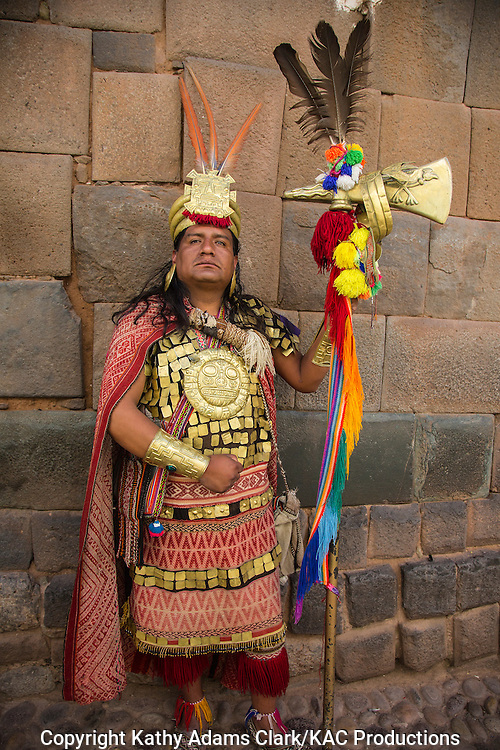 Actor dressed as an Inca royal, on the streets of Cusco, Peru.