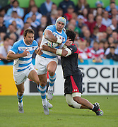 Gloucester Great Britain,  Juan Manuel LEQUIZAMON, caught in possession, during the Argentina vs Georgia, Pool C. game. 2015 Rugby World Cup, Venue. Kingsholm Stadium. England, Friday - 25/09/2015 <br />