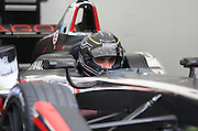 Jerome D'Ambrosio getting in the zone during the FIA Formula E Visa London ePrix  at Battersea Park, London, United Kingdom on 28 June 2015. Photo by Matthew Redman.