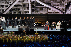 October 31, 2016 - Malm√, Sweden - Swedish opera singer Malena Ernman, Cardinal Kurt Koch, Bishop Munib A. Younan, President of Lutheran World Federation, Pope Francis,  and  and Rev. Martin Junge, General Secretary of LWF are seen on stage during the 'Together in Hope' event at Malmo Arena on October 31, 2016 in Malmo, Sweden. The Pope is on 2 days visit attending Catholic-Lutheran Commemoration in Lund and Malmo.  (Credit Image: © Aftonbladet/IBL via ZUMA Wire)