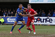 Darius Charles of AFC Wimbledon during AFC Wimbledon and York City at the Cherry Red Records Stadium, Kingston, England on 19 March 2016. Photo by Stuart Butcher.