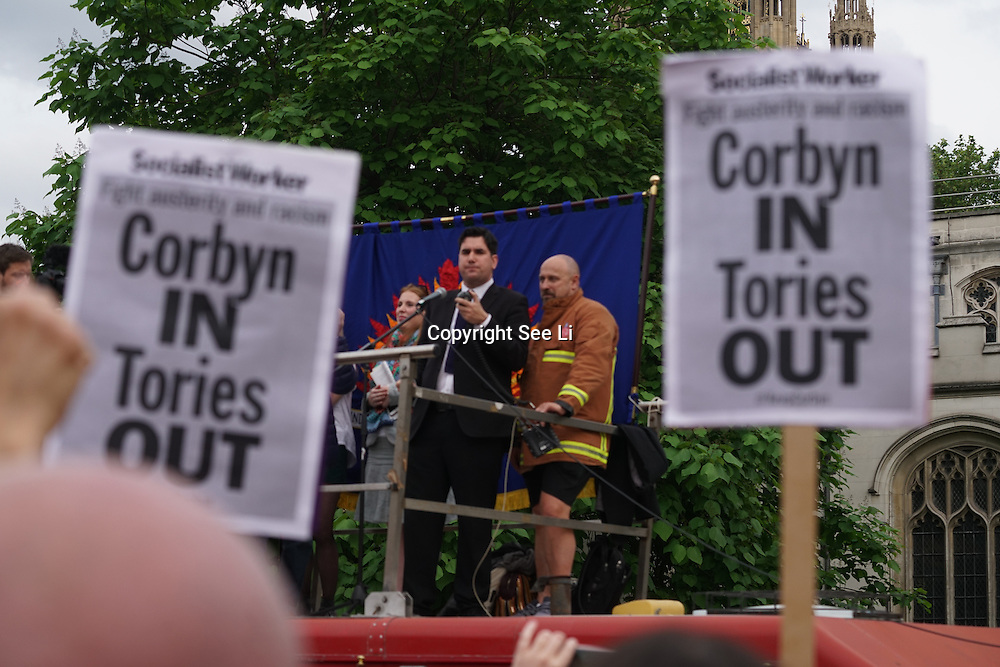 London,England,UK : 27th June 2016 : Speaker Richard Burgon, Labour Member of Parliament for East Leeds addresses the crowd KeepCorbyn protest against coup and Build our movement  at Parliament Square, London,UK. photo by See Li