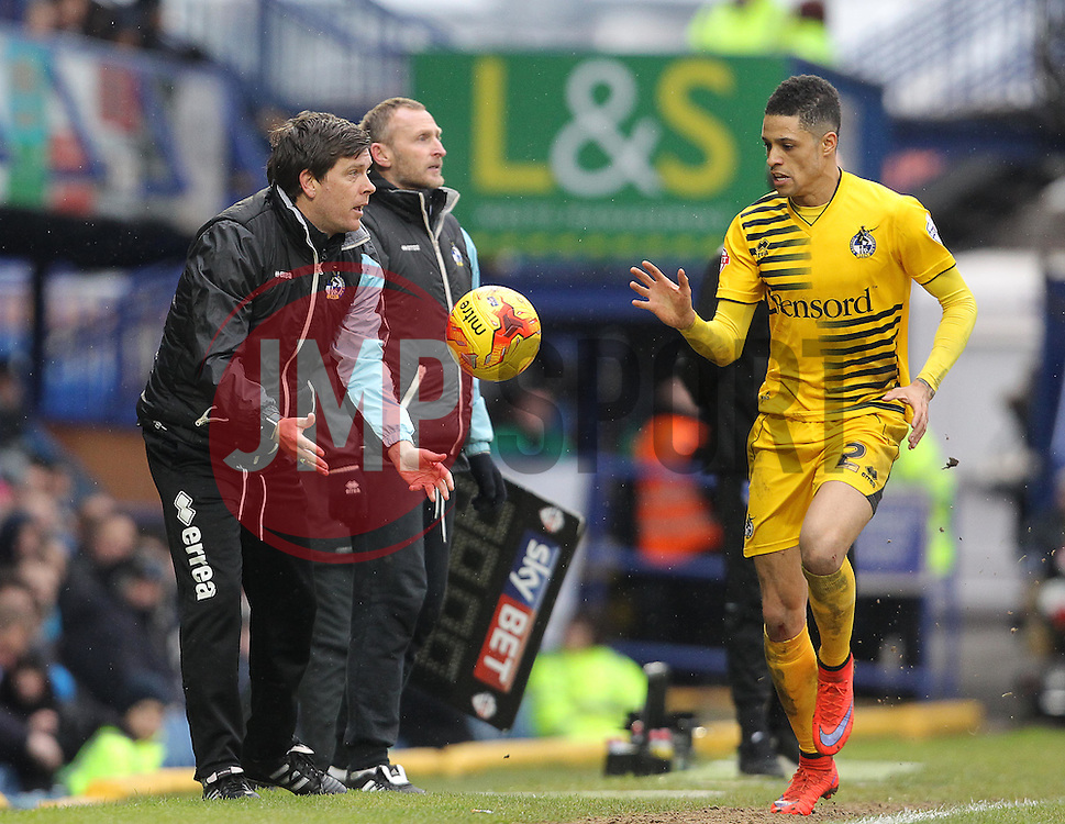 Bristol Rovers Manager, Darrell Clarke throws the ball to Daniel Leadbitter of Bristol Rovers for a throw in - Mandatory byline: Paul Terry/JMP - 13/02/2016 - FOOTBALL - Fratton Park - Portsmouth, England - Portsmouth v Bristol Rovers - Sky Bet League Two