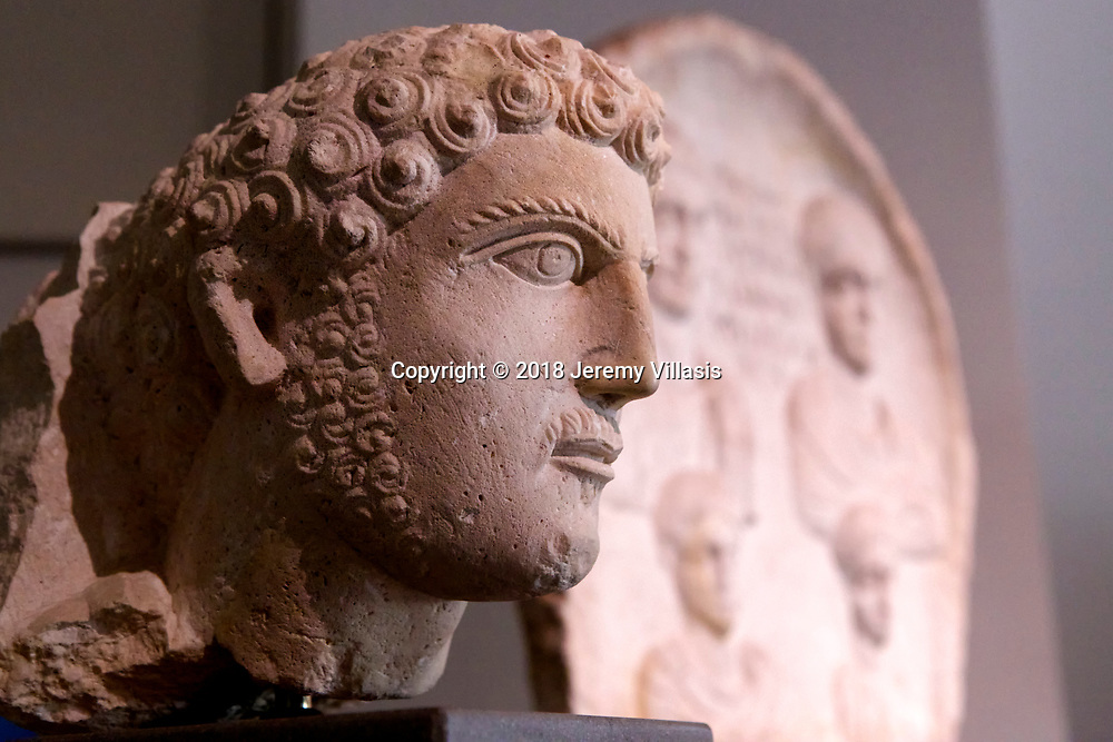 Limestone relief male bust from the period of Severi (AD 193-235) in Palmyra, Syria<br /> <br /> Gallery 8. Prehistory to the late Roman period. Benaki Museum