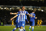 Brighton striker, Tomer Hemed (10) scores his second goal and celebrates during the Sky Bet Championship match between Brighton and Hove Albion and Fulham at the American Express Community Stadium, Brighton and Hove, England on 15 April 2016. Photo by Phil Duncan.