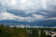 Downtown Vancouver Skyline Scenic Vista from Queen Elizabeth Park, B.C., Canada