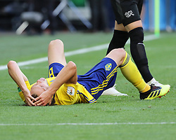 July 3, 2018 - Russia - July 03, 2018, St. Petersburg, FIFA World Cup 2018 Football, the playoff round. Football match of Sweden - Switzerland at the stadium of St. Petersburg. Player of the national team pain; defeat; melancholy..Olbin Indal (Credit Image: © Russian Look via ZUMA Wire)