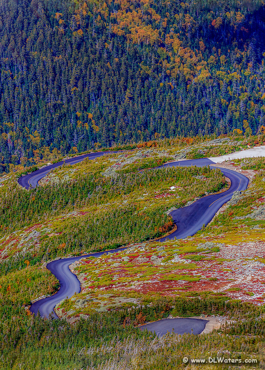 Curves of Mt Washington Auto Road in the White Mountains of NH.