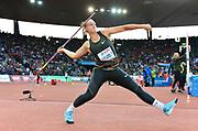 Tatsiana Khaladovich (BLR) wins the women's javelin with a throw of 219-9 (69.99m) during the Weltklasse Zurich in an IAAF Diamond League meeting at Letzigrund Stadium in Zurich, Switzerland on Thursday, August 30, 2018.(Jiro Mochizuki/Image of Sport)