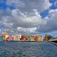 Queen Emma Bridge in Punda, Eastside of Willemstad, Cura&ccedil;ao <br />